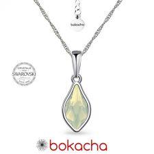 Колие с кристали SWAROVSKI® FLAME 14мм, White Opal - Бял опал, Код PR N669