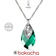 Колие с кристали SWAROVSKI® MET CAP PEAR 22мм Emerald, Зелен цвят, Код PR N668