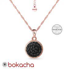 Колие с кристали SWAROVSKI® PAVE PURE 8мм HEM - Черен цвят и Розово Злато, Код PR N713