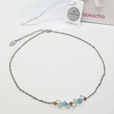 Колие чокър CANDY SEA с кристали SWAROVSKI®, синьо-зелен цвят, Код PR N717