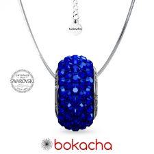 Колие ВЪЛШЕБНО НАМИГВАНЕ с кристали Swarovski® PAVE BEADS 13,5мм Majestic Blue - Син, Неръждаема Стомана, Код PR N677