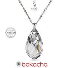 Колие с кристали SWAROVSKI® MET CAP PEAR 22мм Crystal, Бял цвят, Код PR N667