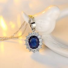 Комплект бижута КЕЙТ. Колие, обици и пръстен от Zerga Jewelry, син камък, 18KG S09821