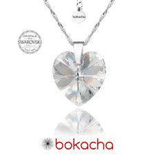Колие с кристали Swarovski® BIG HEART Crystal AB 18 мм, Бял, Код PR N031