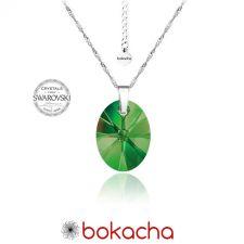 Колие с кристали Swarovski® OVAL 12 мм Emerald**, Зелен, Код PR N154