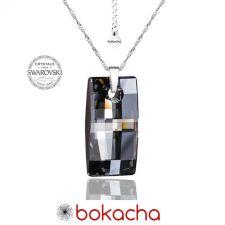 Колие с кристали Swarovski® URBAN 20мм Silver Night** AB - Черен, Код PRFNO N352
