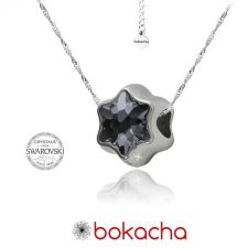 Колие ПАДАЩА ЗВЕЗДА с талисман Swarovski® PAVE BEADS, Silver Night** AB - Черен, Код PR N375