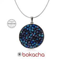 Колие с кристали Swarovski® CRYSTAL ROCK, Bermuda Blue BBL - Син, Код PRFNO N440B