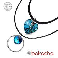 Чоукър колие Charming Choker Swarovski® HEART Bermuda Blue BBL 14 мм, Син цвят, Код PR N509