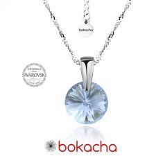 Колие с кристали Swarovski® RIVOLI 8мм Denim Blue - Син, Код PR N376