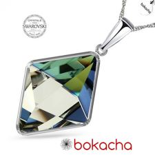 Колие с кристали Swarovski® TILTED SPIKE Sahara**, Синьо-Зелен цвят, Код PR N542