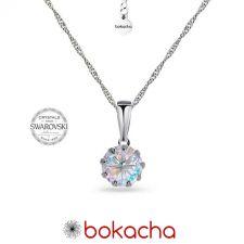 Колие с кристали SWAROVSKI® CHATON 7мм, Crystal Aurore Boreale** AB, Бял цвят, Код PR N616