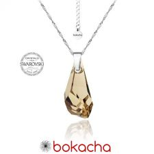 Колие с кристали Swarovski® POLYGON DROP 17мм Golden Shadow**, Натурален, Код PRFNL N094