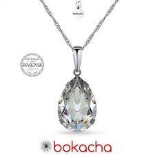 Колие с кристали SWAROVSKI® PEAR 14мм, Crystal, Бял, Код PR N569