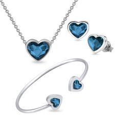 Бижута с кристали Swarovski® MY HEART Колие, Обеци на винт и Гривна, Denim Blue, Син цвят, Код PR S557A-3