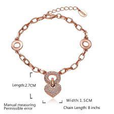 Гривна Сърце от Злато с Австрийски Кристали и 18К Розово Злато, Zerga Jewelry, Код 18KG B04739