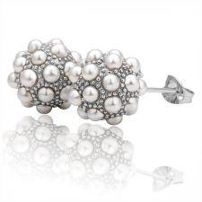 Стилни дамски обици с перли и 18К бяло златно покритие, колекция Zerga Jewelry, 18KG E09173