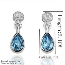 Стилни дамски обици БЛУ СТОУН със Сваровски Кристали, Zerga Jewelry,18KG E17099