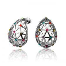 Обеци ЛАТИЧЕ с Австрийски Кристали и 18К Бяло Злато, Колекция Zerga Brand 18KGFNO E85324