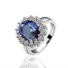 Дамски пръстен КЕЙТ - Zerga Collection, син кристал, 18KG R04237
