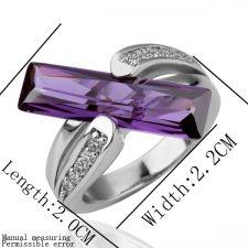 Дамски пръстен с нежен лилав кристал Swarovski Elements, Zerga Jewelry, 18KG R18010
