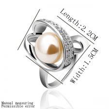 Пръстен НЕЖНА ПЕРЛА! Zerga Jewelry, бяло златно покритие, 18KG R12578
