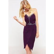 Официална рокля LITTLE MISTRESS с кристали в цвят бордо, Размер S, Код DD0148