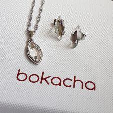Бижута украсени кристали SWAROVSKI® MARQUISE Crystal, Бял цвят, Колие с обеци на винт, Код PR S593