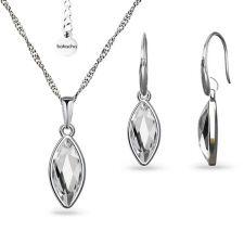 Бижута с кристали SWAROVSKI® MARQUISE Crystal, Бял цвят, Колие и обеци Код PR S593A