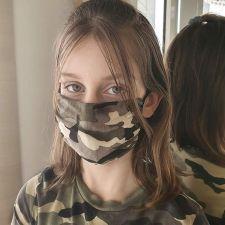 Текстилна маска за многократна употреба с камуфлажен дизайн и обеци, Код:FNE Q003