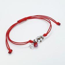 Гривна МАРТЕНИЦА ELEPHANT SWAROVSKI® BICONE, CRYSTAL & SIAM, бял и червен цвят, Код PR B659
