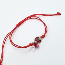 Гривна МАРТЕНИЦА LADYBIRD SWAROVSKI® BICONE, CRYSTAL & SIAM, бял и червен цвят, Код PR B655