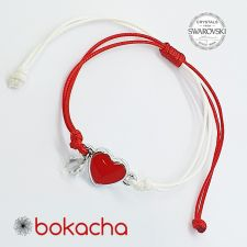 Гривна МАРТЕНИЦА RED HEART SWAROVSKI® BICONE, White Opal, Бял, Код PR B658