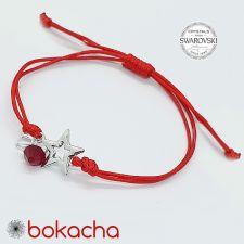 Гривна МАРТЕНИЦА STAR SWAROVSKI® BICONE, CRYSTAL & SIAM, бял и червен цвят, Код PR B653