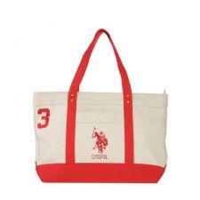 Спортна чанта U.S. Polo Assn в бяло и червено, Код F155A