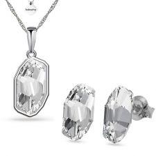 Бижута с кристали SWAROVSKI® METEOR Crystal, Бял цвят, Колие с обеци на винт, Код PR S653