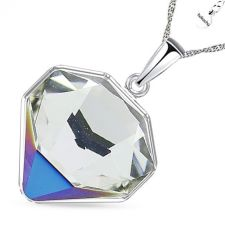 Колие с кристали Swarovski® TILTED CHATON Crystal, Бял цвят, Код PR N543