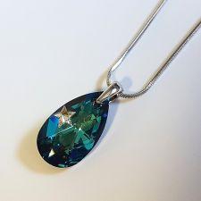 Колие STAR с кристали SWAROVSKI® PEAR DROP 22мм Bermuda Blue BBL, Син, Код PR N578
