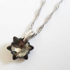 Колие с кристали SWAROVSKI® EDELWEISS 14мм Silver Night** AB - Черен цвят, Код PR N602