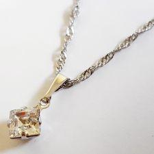 Колие с кристали SWAROVSKI® SQUARE 6 мм, Crystal - Бял цвят, Код PR N613