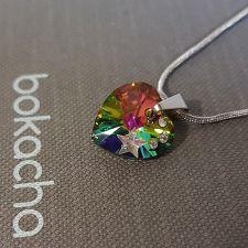 Колие STAR с кристали SWAROVSKI® HEART Vitrail Medium** VM, Зелен цвят, Код PR N575