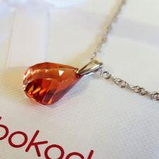 Колие с кристали SWAROVSKI® HELIX Red Magma 18 мм, Червен цвят, Код PR N605