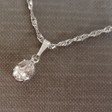 Колие с кристали SWAROVSKI® OVAL 8 мм, Crystal - Бял цвят, Код PR N612