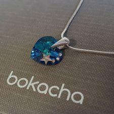 Колие STAR с кристали SWAROVSKI® HEART Bermuda Blue BBL 14 мм, Син цвят, Код PR N574