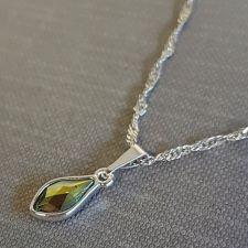Колие с кристали SWAROVSKI® FLAME, Iridescent Green, 10мм - Зелен цвят, Код PR N619B