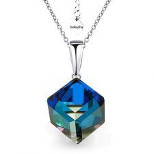 Колие с кристали Swarovski® CUBE 8мм Bermuda Blue BBL, Син цвят, Код PR N420