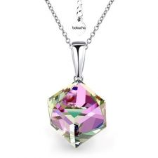 Колие с кристали Swarovski® CUBE 8мм Vitrail Light** VL, Лилаво-зелен цвят, Код PR N419