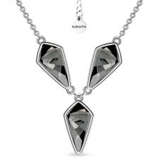 Колие с кристали SWAROVSKI® KITE Silver Night** AB - Черен, 14 мм, Код PR N607B