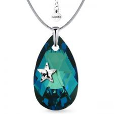 Колие STAR с кристали SWAROVSKI® PEAR DROP 22мм Bermuda Blue BBL, Син, Код PR N578