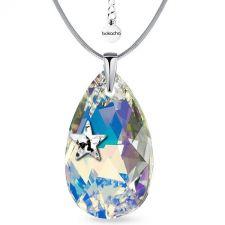 Колие STAR с кристали SWAROVSKI® PEAR DROP 22мм Crystal AB, Бял, Код PR N552